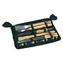 56-0604015 - Ustensile pentru gratar din otel inoxidabil cu manere din lemn ambalate in geanta cu fermoar