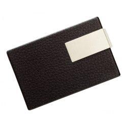 56-1103102 - Port card elegant cu placuta metalica si design cu piele