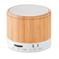 MO9608-06 - Boxa rotunda Bluetooth bambus - ROUND BAMBOO