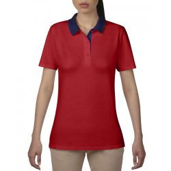 anL6280 - Tricou polo adult dama Anvil Double Pique [Red/Navy]